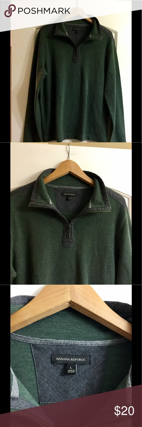 Men's Banana Republic forest green&Gray half zip L From Banana Republic Men's Large, forest greeen with gray accents, this is a men's pullover half zip sweater from banana republic. Worn once, excellent condition! Says banana republic on the zipper! Very nice, soft, comfortable, and warm for winter! Dress it up or dress it down! Banana Republic Sweaters Zip Up