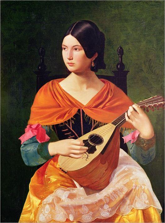 Vjekoslav Karas : Roman Woman Playing a Lute 1845-47