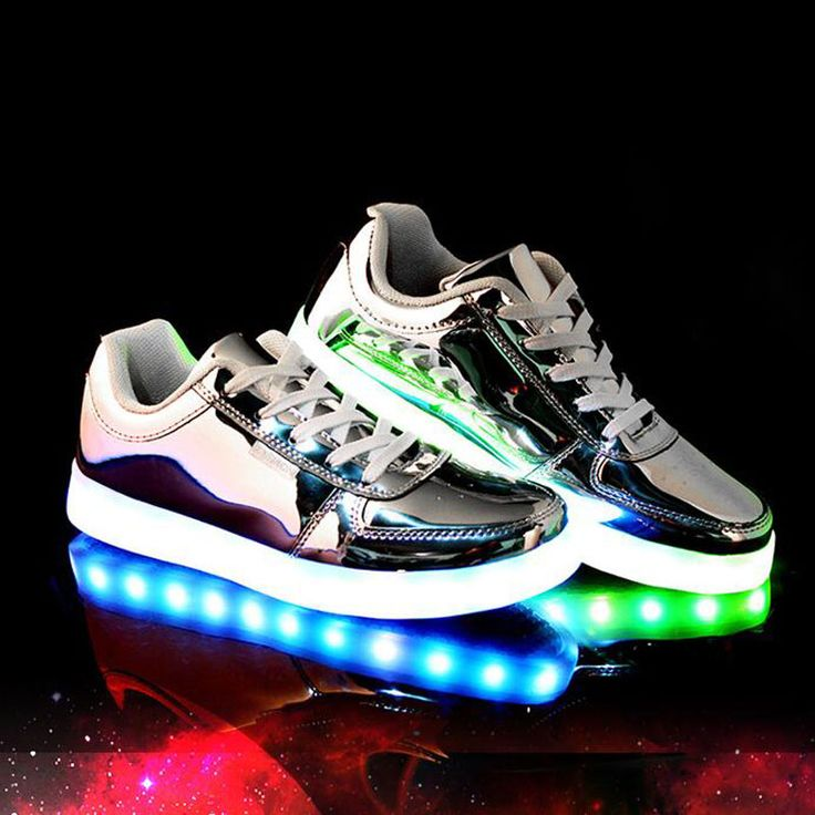 Unisex USB LED Light Luminous Lace Up Shoes Sportswear Sneaker Luminous Casual Shoes Silver Size 37 - Tmart