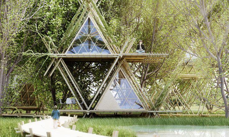 """""""HOTEL ECOLÓGICO USA BAMBU EM TODA SUA ESTRUTURA - O projeto do hotel sustentável chamado de One With the Birds, foi criado pelo escritório de arquitetura Penda, e usa materiais naturais e locais como um elemento estrutural.  O conceito do projeto foi criar uma conexão que não deixa nenhum impacto sobre o local de construção, nem qualquer dano no próprio bambu, assim, o hotel que é temporário, pode ser desmontado, os materiais podem ser reutilizados... """""""
