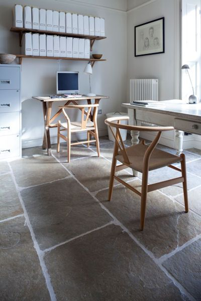 Jaipur Brushed Limestone large format floor tiles are the perfect backdrop in this home office space.