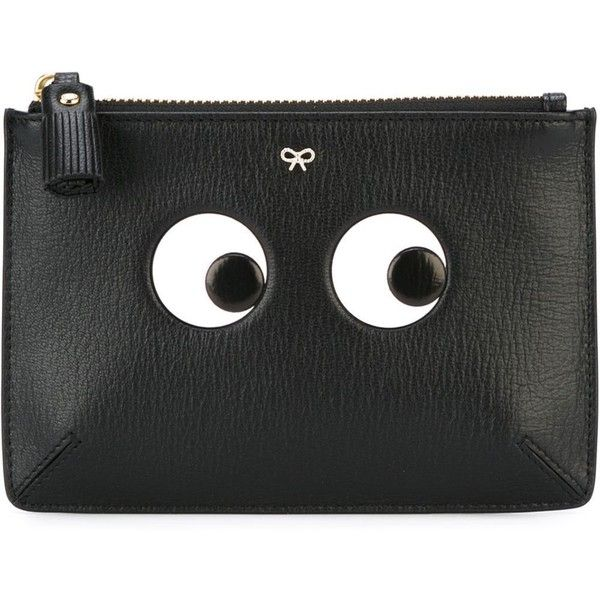 Anya Hindmarch 'Eyes' clutch (925 ILS) ❤ liked on Polyvore featuring bags, handbags, clutches, black, genuine leather handbags, leather purses, anya hindmarch, tassel handbags and anya hindmarch handbags