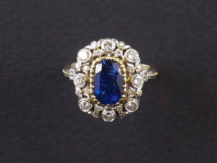 Anello, oro, diamanti, zaffiro, 1950 c.a.   Gioielleria Pennisi