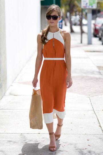 Love the dress // Emerson Fry: 70S Fashion, Summer Dresses, Orange Dresses, Style, Burnt Orange, Emerson Fries, The Dresses, White Dresses, Colors Blocks