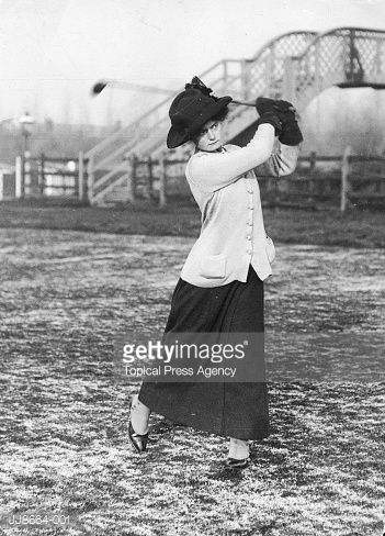 Lady Helen Brassey demonstrates her swing during a Lords versus Commons Ladies Parliamentary golf match at Bishops Stortford.