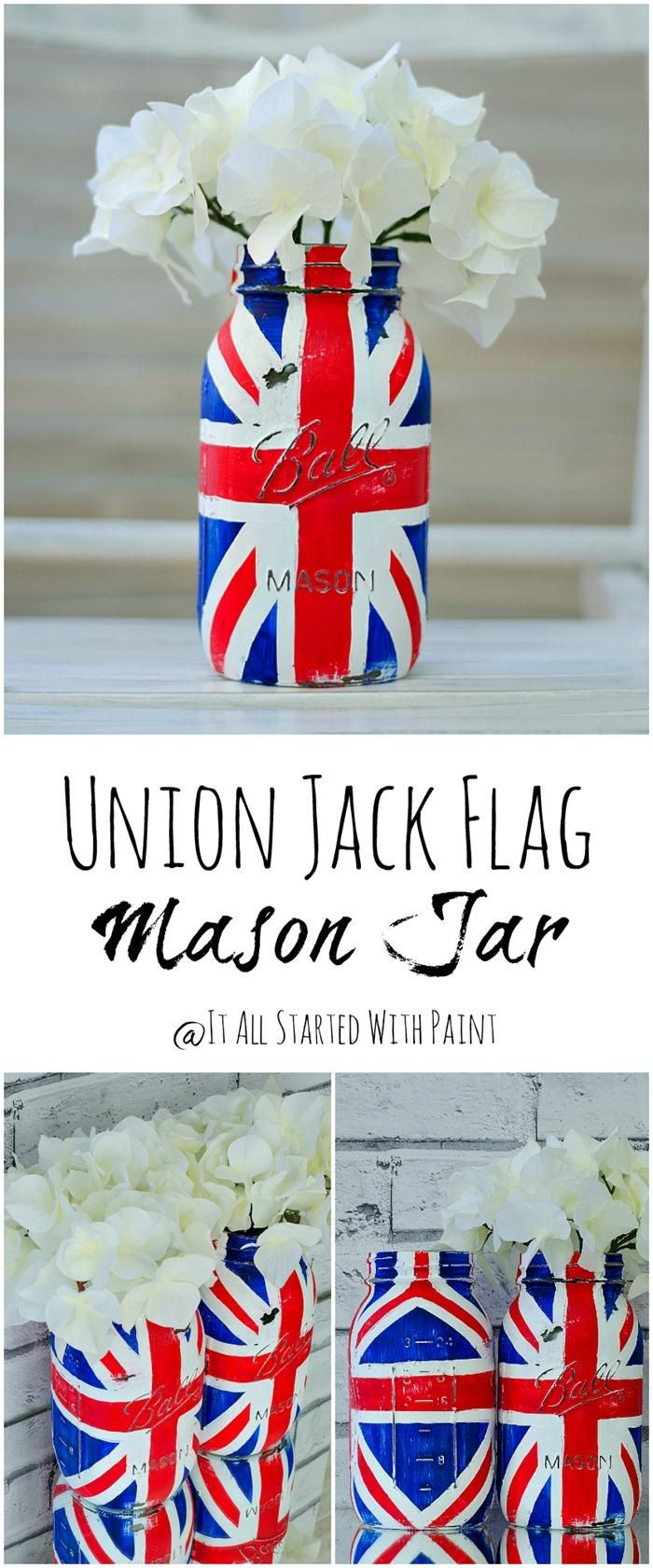 DIY Union Jack Flag Mason Jar Painted Distressed