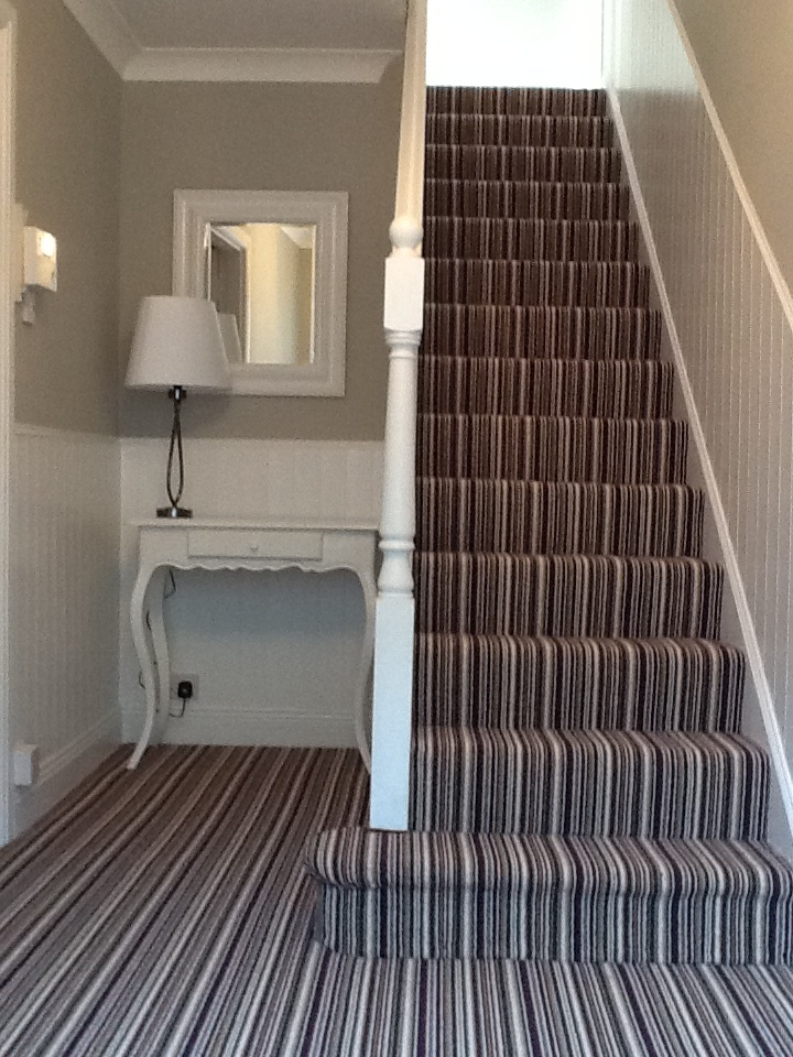 The finished product! Grey walls with white panelling and stripy carpet :o)