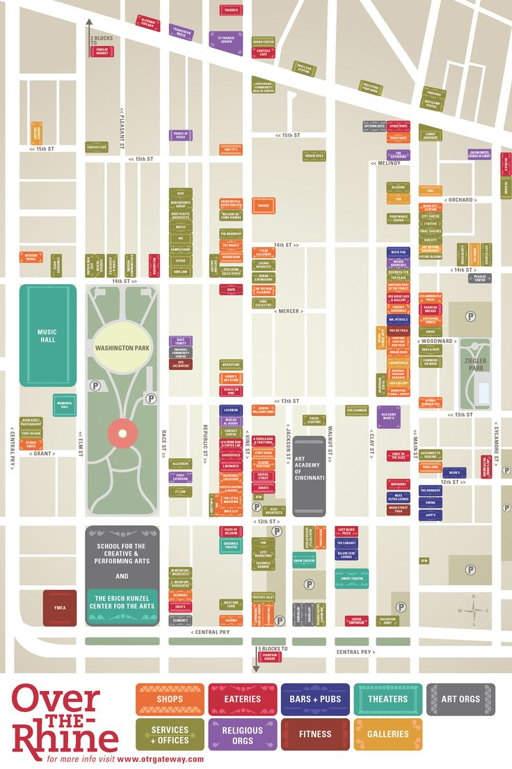 OTR Gateway Quarter Wayfinding Map created by Laura Collins and Katie Garber. Click for full resolution. More information at otrgateway.com