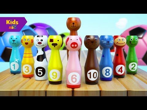 Learn Colors with Colors Bowling Game | Nursery rhymes | Kidz Learn ABCs