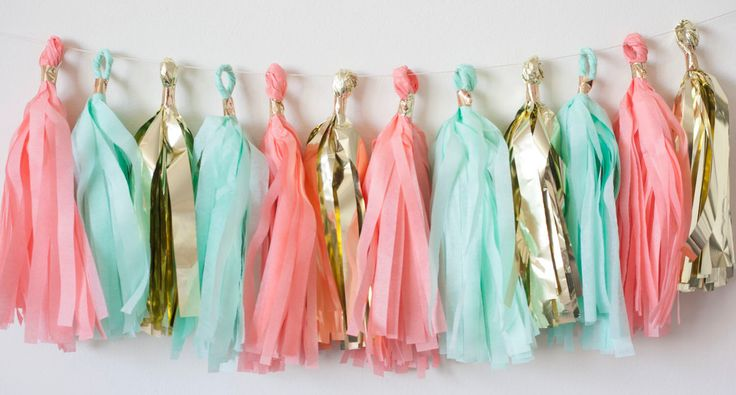 Coral Mint Gold Tassel Garland (15), Coral Mint Birthday Party, Coral Mint Gold Banner, Coral Mint Bunting, Gender Reveal Decor, Bday Banner by LoveGarlands on Etsy https://www.etsy.com/listing/196746550/coral-mint-gold-tassel-garland-15-coral