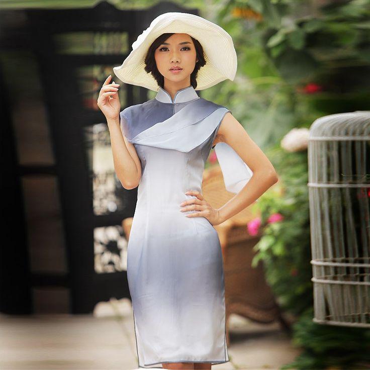 Improved fashion georgette short sleeveless cheongsam dress. The Rain-soaked Bell