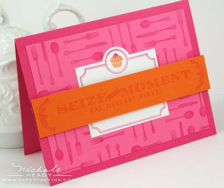 silverware stamp: Cupcake Card, Stamps Flip, Cupcake Rosa-Choqu, Color Combos, Papertray Ink, Creative Card, Paper Trays, Trays Ink, Silverware Stamps