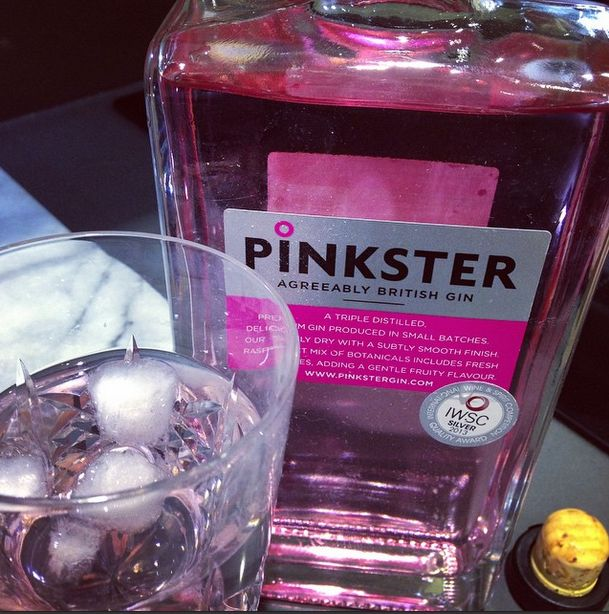 Pinkster gin uses raspberries as one of its botanicals, which makes it lightly pink! IT'S SO AMAZING!