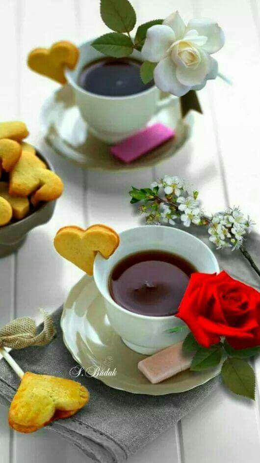 Открытки, картинки с добрым утром цветы кофе конфеты