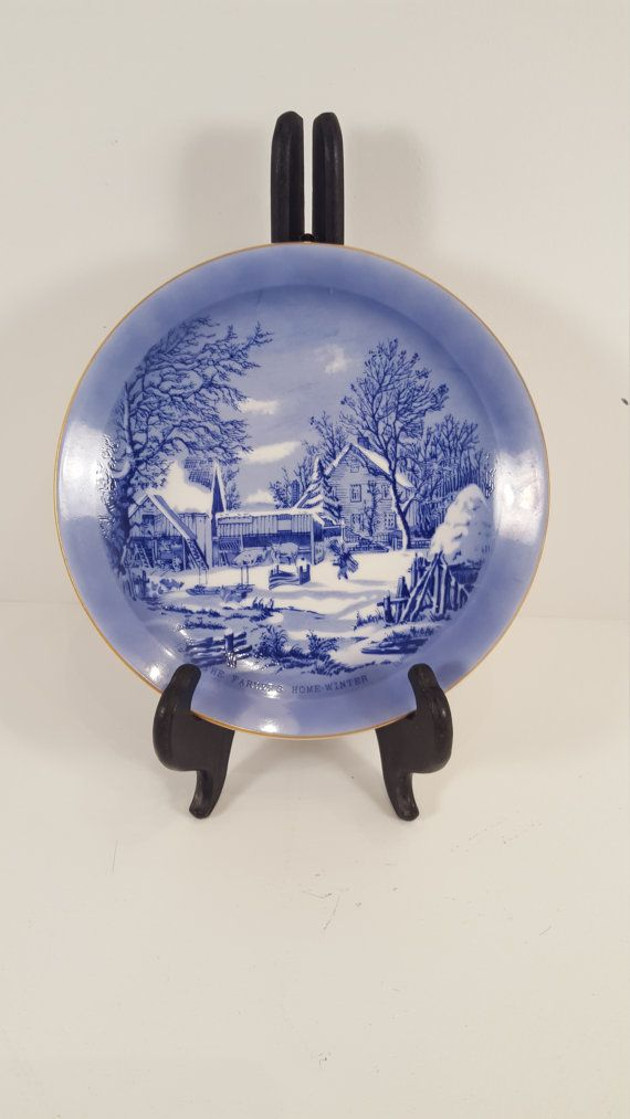 Currier & Ives collectible plate; The Farmers Home Winter; blue
