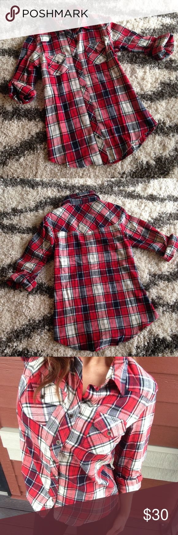 NWT Plaid Red Navy Blue Button Up Shirt Size S So cute! Boutique Tops Button Down Shirts