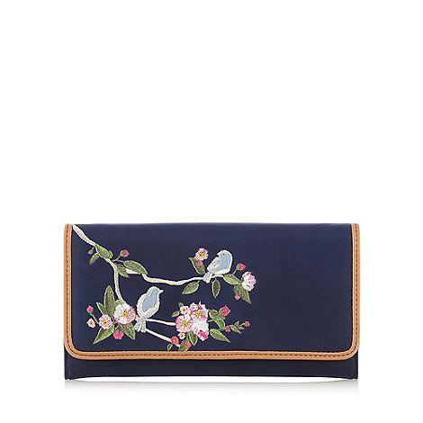 The Collection Navy bird and floral embroidered purse | Debenhams