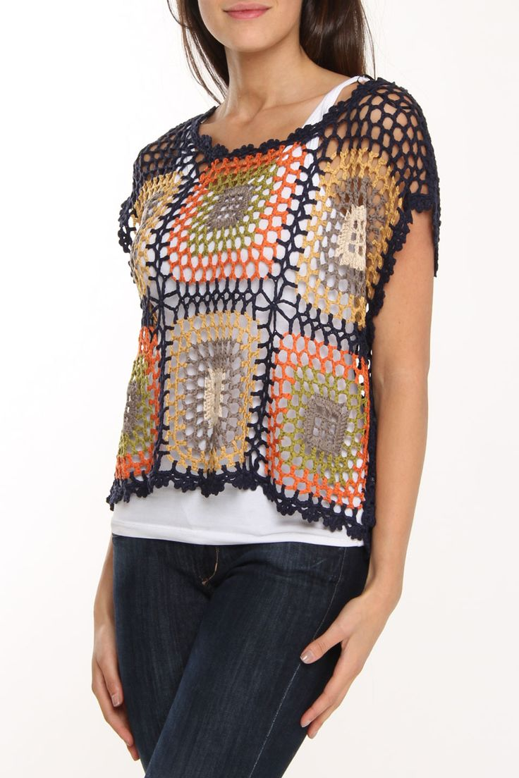 Crocheted Squares Sweater.