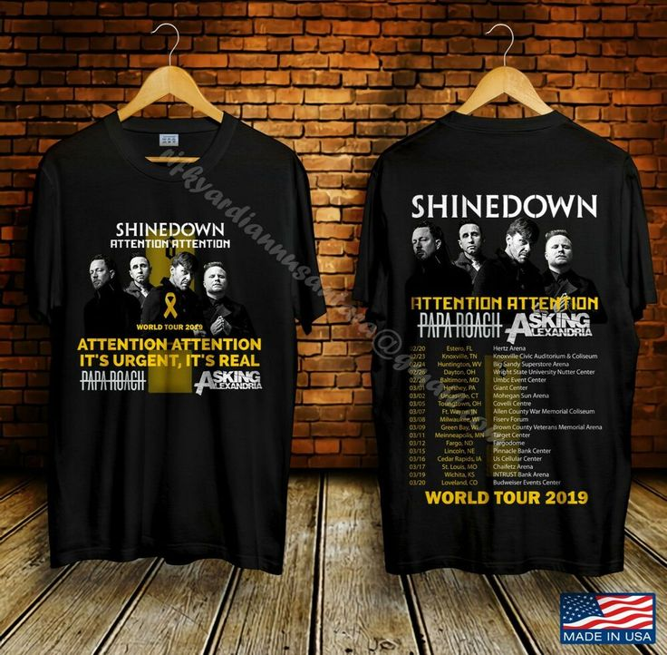 New Shinedown Attention Tour Concert 2019 Black T Shirt Size S 2xl