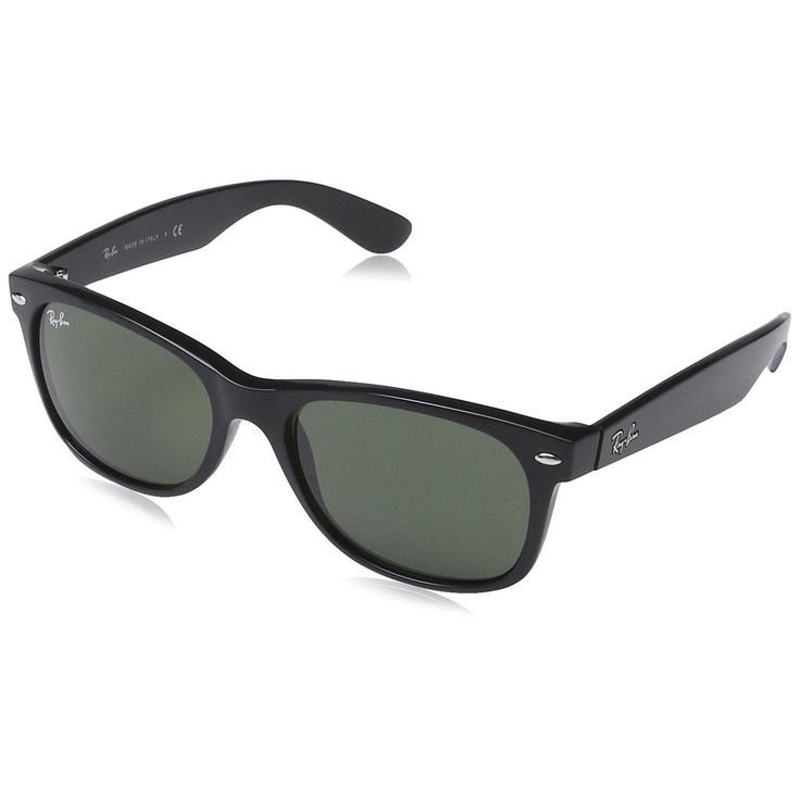 Ray-Ban RB2132-622 New Wayfarer Sunglasses Black Nylon Frame G15 Green Classic 55 mm Lenses