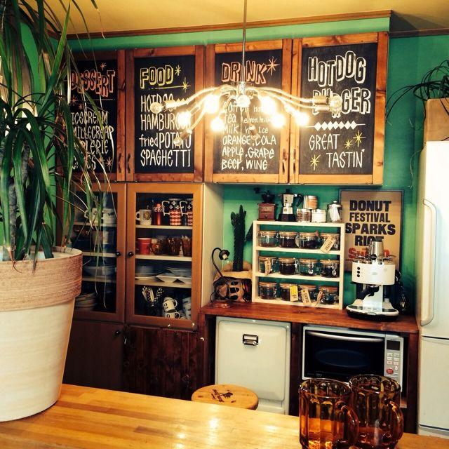 キッチン改造中/メニューボード/黒板/DIY/キッチンのインテリア実例 - 2015-03-28 09:02:32 | RoomClip(ルームクリップ)