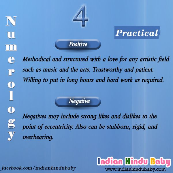 People with number 4 are very practical. Chose the one from the list of names based on number 4 - https://www.indianhindubaby.com/numerology-number-4/