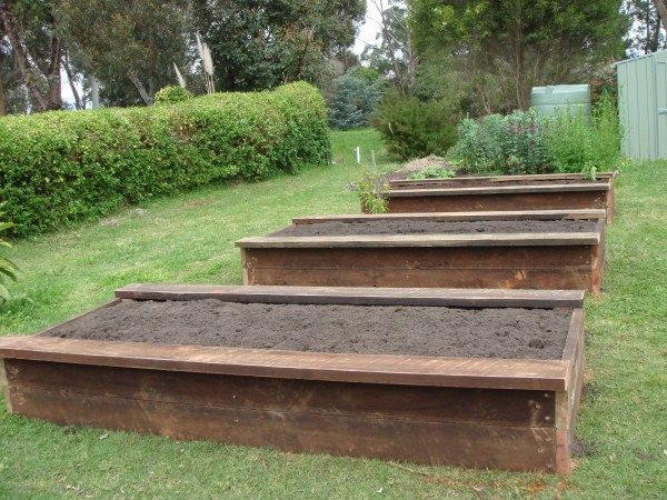 Raised veggie beds with side seats designed & constructed by Yummy Gardens, Melbourne