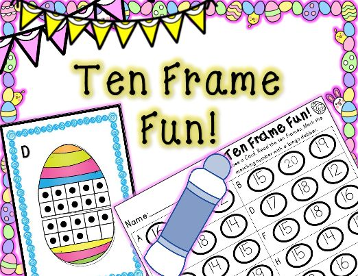 This Easter Math Center is a fun, engaging way to for your students to practice basic math skills during their center time or in your small math groups. Students choose a card, read the ten frames, and use a bingo dabber to mark the matching number.