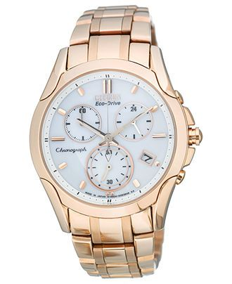 Citizen Watch, Women's Eco-Drive Sport Chronograph Rose Gold-Tone Stainless Steel Bracelet 35mm