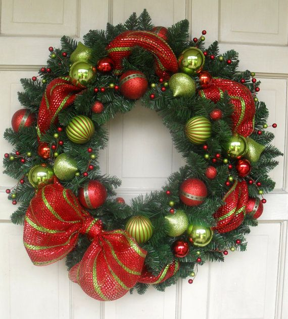 "NEW DESIGN 2013 - Beautiful 25"" Modern Style Mesh Ribbon Red and Green Christmas Wreath on Etsy, $52.00"