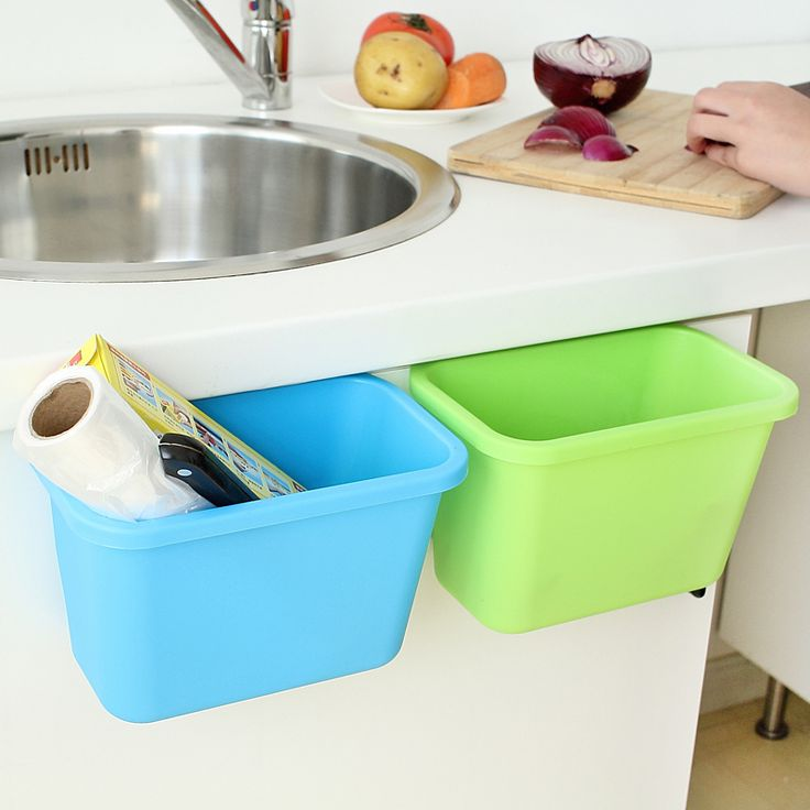 Creative Kitchen Trash Can Hanging / Debris Storage Basket Multifunction Desktop Storage Box Plastic Storage Bucket