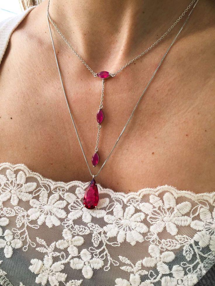 Compre Colar da moda semi joia rodio branco de gota fina rubi na Waufen ✓ Semjoias Finas ✓ Ótimos Preços ✓ Entrega Rápida e Segura ✓ Pgto em até 12 Vezes