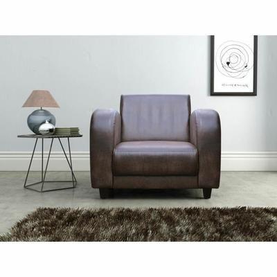 Fauteuils club vintage - Formes généreuses - Design Arts-Deco - Revêtement en microfibre  aspect cuir vieilli