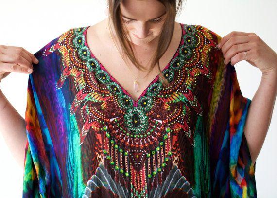 Kaftan dress embellished  100% Habotai Silk multi coloured