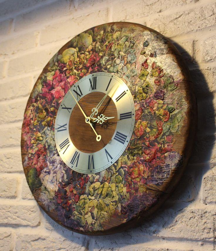 Купить Настенные часы Сад с гортензиями большие с циферблатом - часы настенные, часы настенные купить