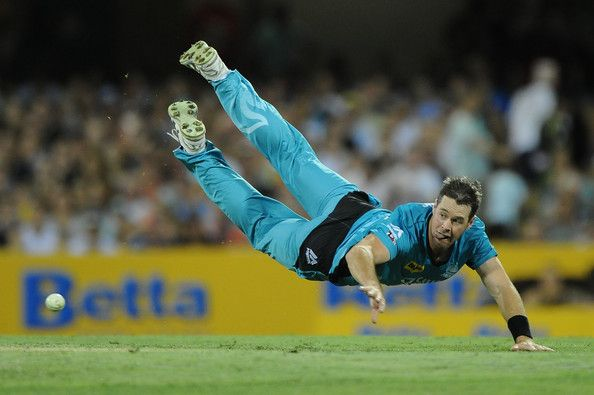 Daniel Christian of the Heat fields during the Big Bash league match between the Brisbane Heat and the Adelaide Strikers at The Gabba on January 4, 2015 in Brisbane, Australia. (January 3, 2015 - Source: Matt Roberts/Getty Images AsiaPac)