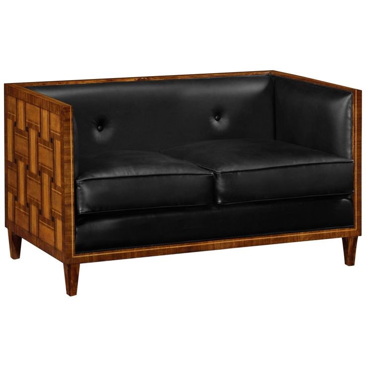 Jonathan Charles 2 Seater Transitional Sofa In Black Leather