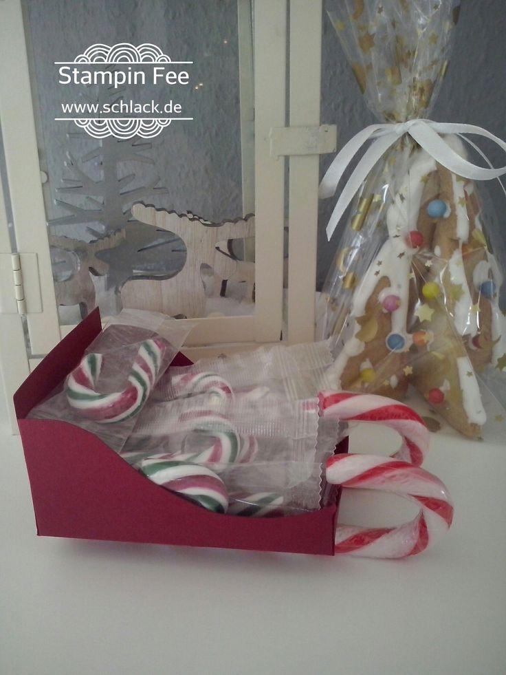 stampin Christmas candy cane sleigh goody treat  decoration Zuckerstangen Schlitten Tisch deko Mitbringsel Weihnachten