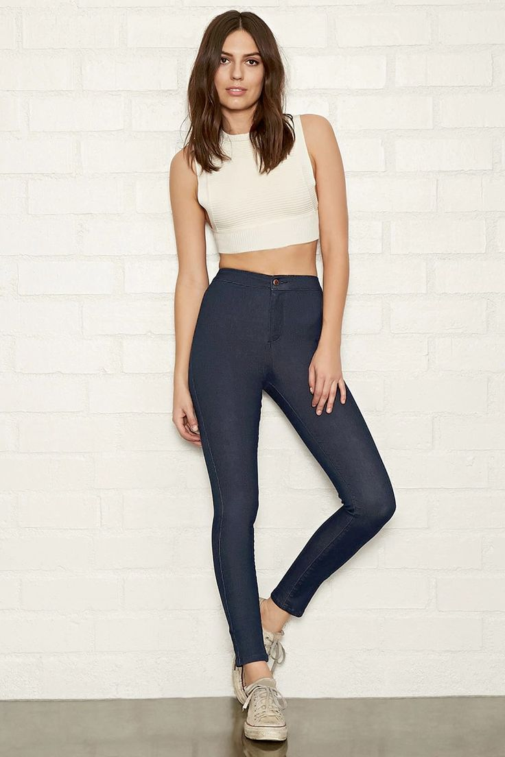 A pair of super-skinny jeans with a high-waisted fit, back patch pockets, and a zip fly.