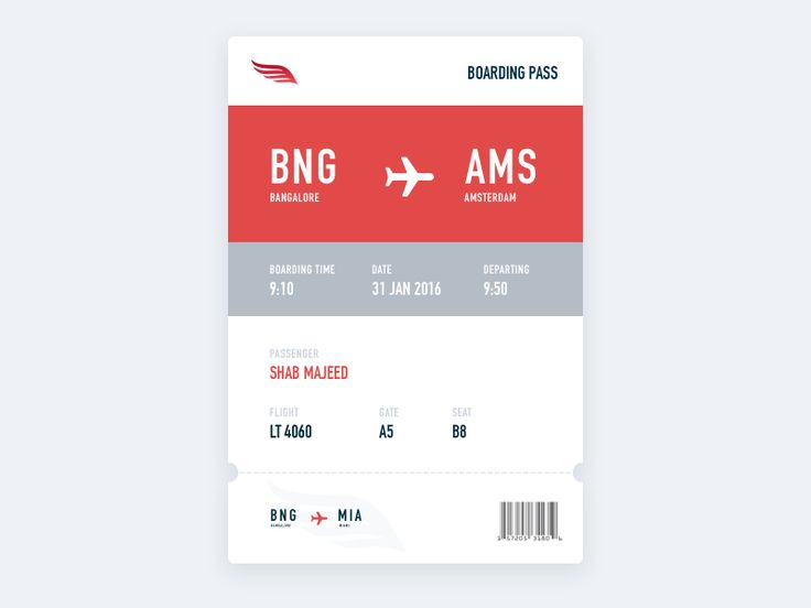 Dribbble - Daily UI 024 - Boarding pass by Shab Majeed