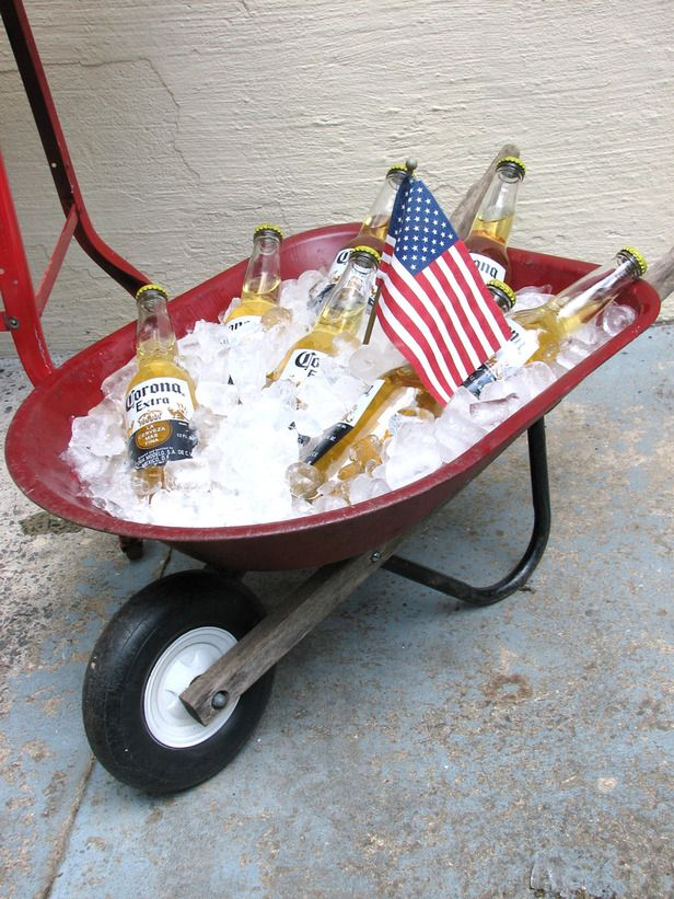 Who needs a cooler? Much more fun way to keep drinks cool at a summer BBQ plus dump all the slush with ease when done.