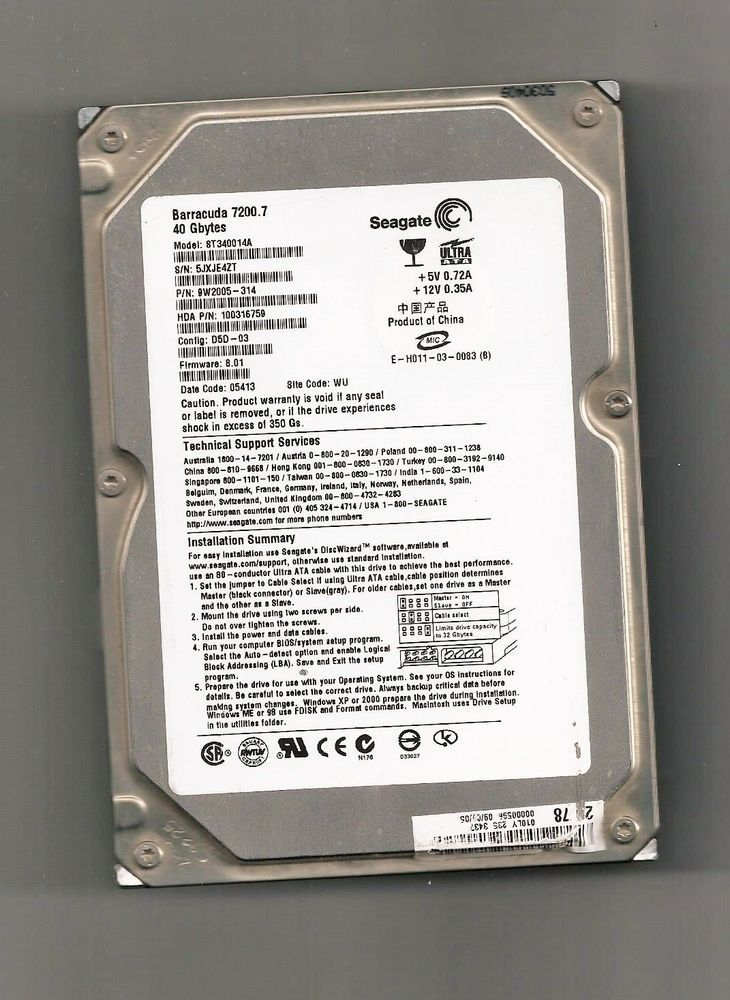 HARD DISK SEAGATE 3.5 IDE 40 GB FUNZIONANTE