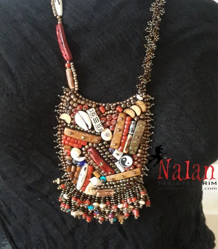 authentic, style, style, bohemian, necklaces, design, pay at the door, order, wood, embellishment,otantik,dengeişareti,mercan,ahşap,bezeme,Otantik Kolye kod:17 | Nalan Takı Tasarım