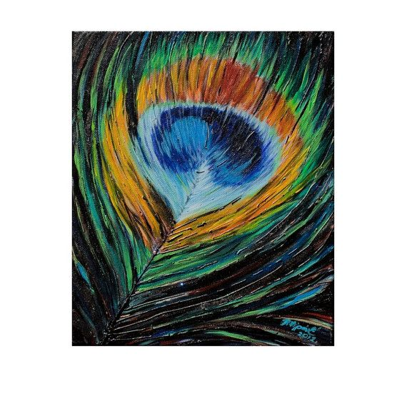 Peacock Feathers acrylic on canvas by Pilipart on Etsy
