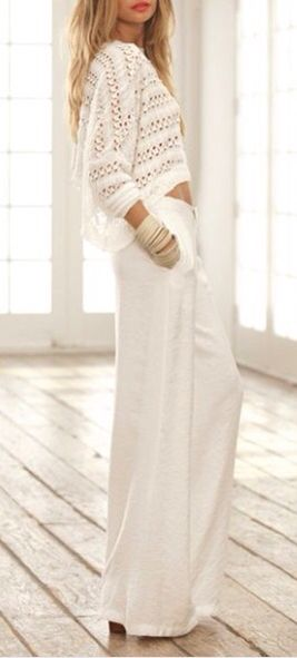 White Crochet Cropped Sweater White Wide Leg Leisure Drawstring Pants