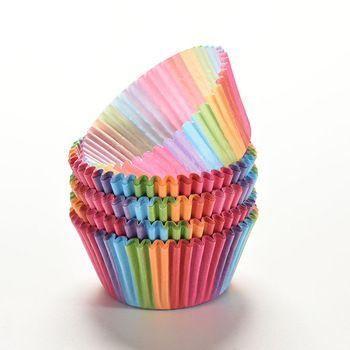 100 Pcs Colorful Rainbow Caso Copo Caixa de Bolo De Papel Do Queque xícara de Bicarbonato de Forro de Muffin Bandeja Do Partido Molde Do Bolo Ferramentas de Decoração