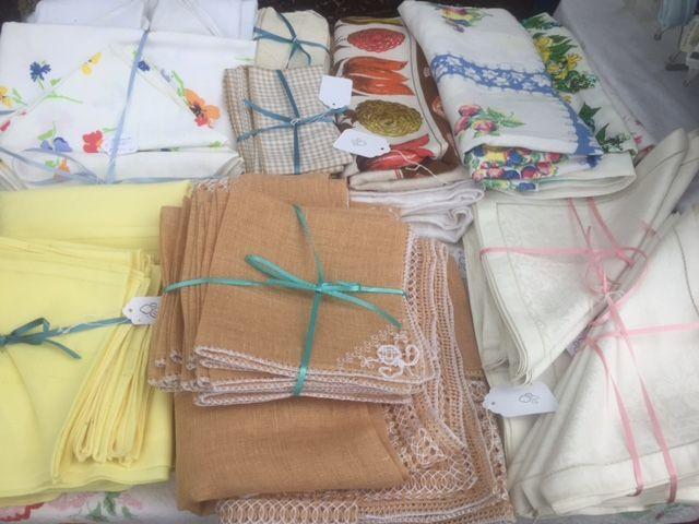 Vintage linens, textiles, Scranberry Coop Antique Store monthly FLEA MARKET Andover NJ