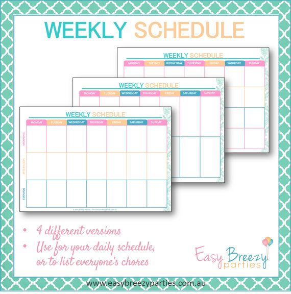 Weekly Schedule Printable Weekly timetable by EasyBreezyParties