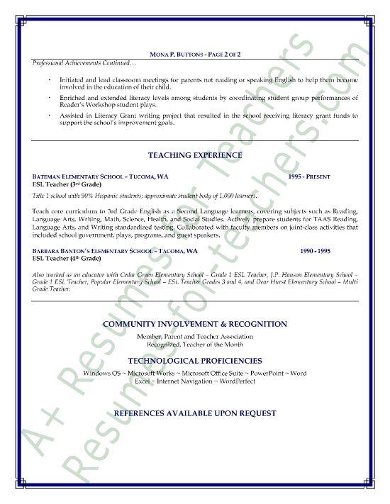 Promote your teaching skills 110 pinterest esl teacher resume sample yelopaper Image collections