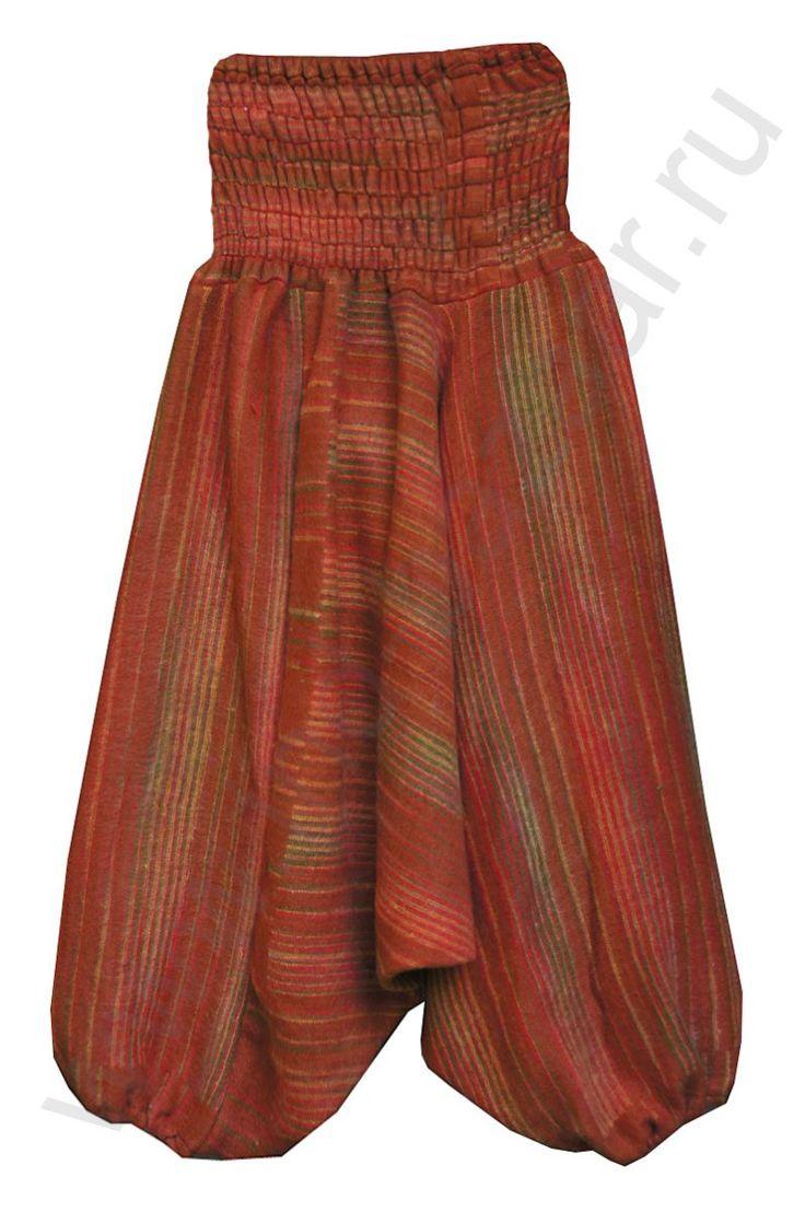 Зимние тёплые красные штаны алладины, Непал, купить за 600 руб.